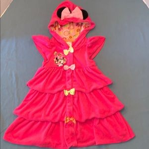 3 pink Girl  Disney Minnie terry cover up w/ hood